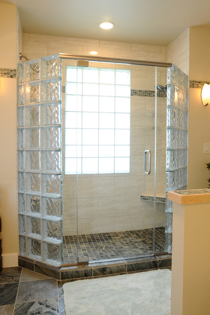 Glass Block Shower With Frameless Door In Middleton Wisconsin  Transitional Bathroom