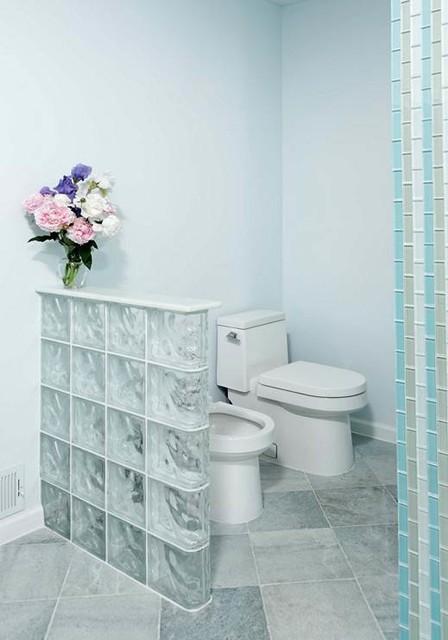 Glass Block Walls U0026 Windows Highlight Modern Bath Remodel Modern Bathroom