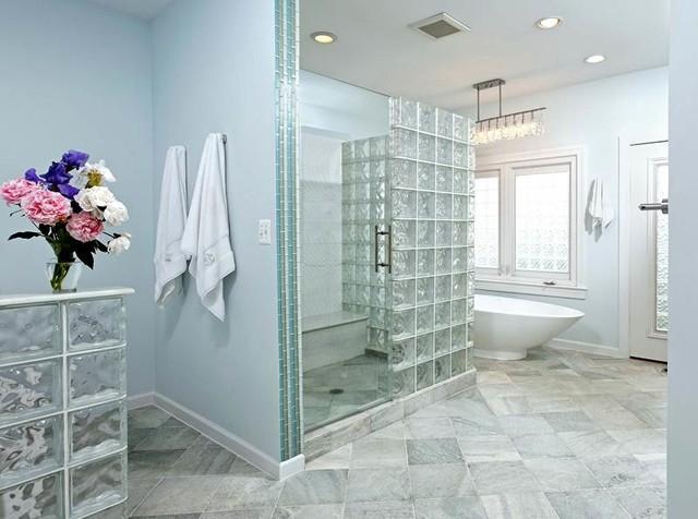 glass block walls & windows highlight modern bath remodel - modern