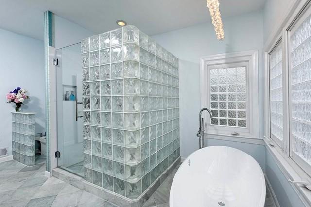Glass Block Walls U0026 Windows Highlight Modern Bath Remodel Modern Bathroom Part 54