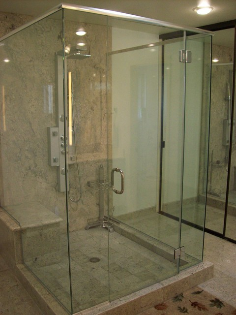 Glass Cube Frameless Shower Door Traditional Bathroom Los Angeles By