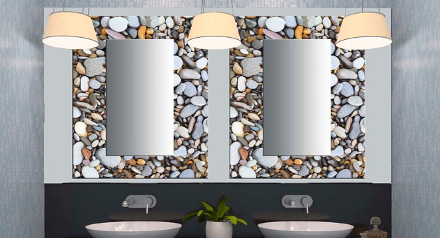 Glass decorative mirrors contemporary bathroom miami for Mirror on mirror decorating for bathroom
