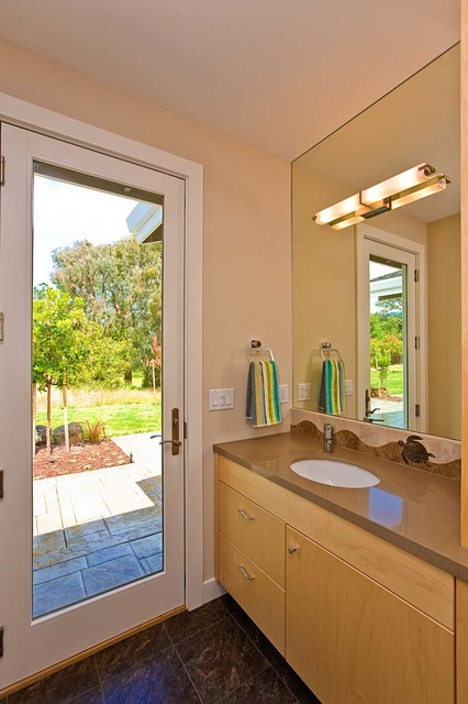 Glass door from bathroom leads to pool modern-bathroom & Glass door from bathroom leads to pool