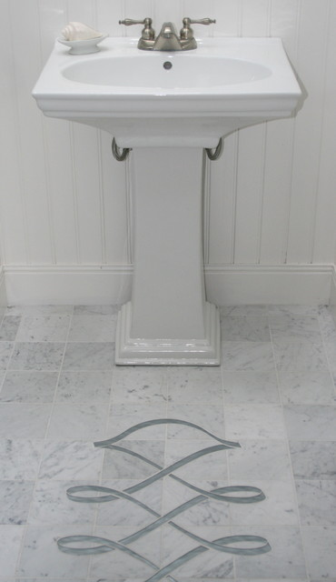 Glass insert in carrara marble floor traditional for Carrara marble bathroom floor designs