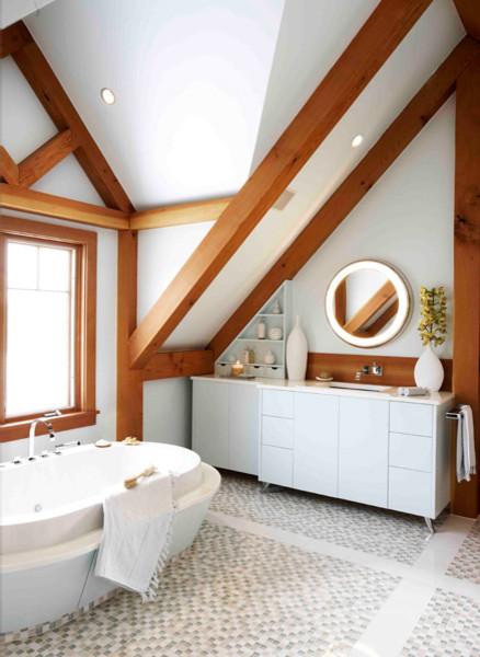 Glass Mosaic Floor Tile beach-style-bathroom