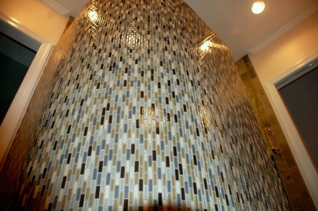 Glass Mosaic Mini Subway Tile and Curved Walls