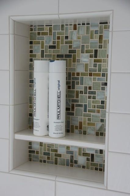 Gl Mosaic Shampoo Niche With White Tile Shelf In Shower Modern Bathroom