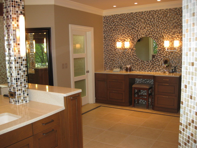 Wonderful Glass Mosaic Tile Wall Contemporary Bathroom
