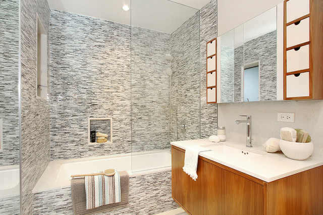 Glass Mosaic Tile with Modern Wood Floating Vanity ...