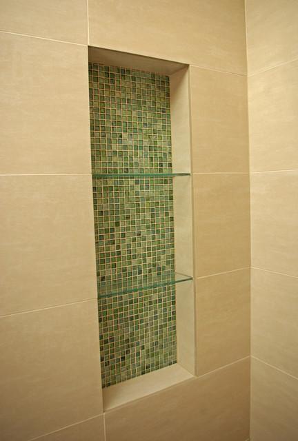 Gentil Glass Mosiac Shower Niche Modern Bathroom