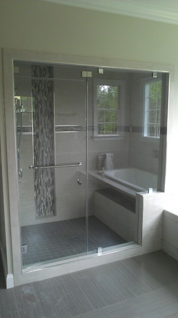 Glass Shower Door With White And Gray Tile Contemporary Bathroom Other Metro By Abc