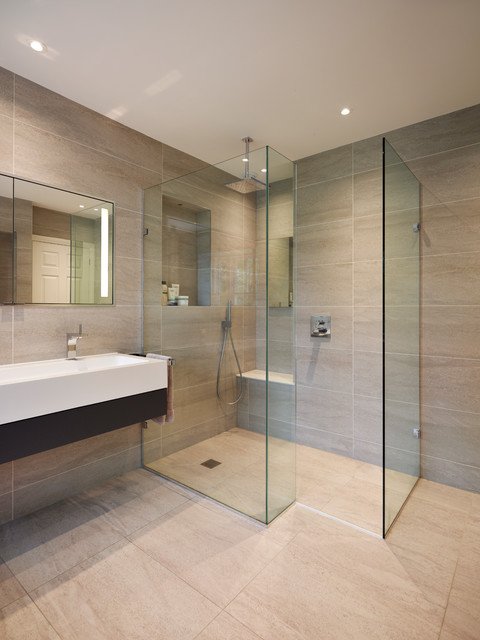 glass shower enclosure in en suite bathroom luxury home. Black Bedroom Furniture Sets. Home Design Ideas