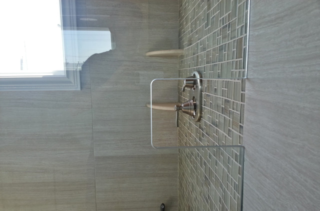 Glass Shower Wall Cutout Eclectic Bathroom New York