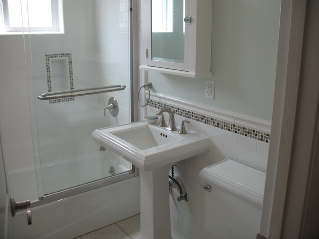 traditional bathroom glass stone subway sage