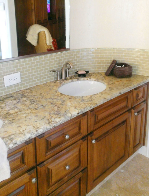 glass tile backsplashes by subwaytileoutlet traditional bathroom - Glass Tile Backsplash In Bathroom