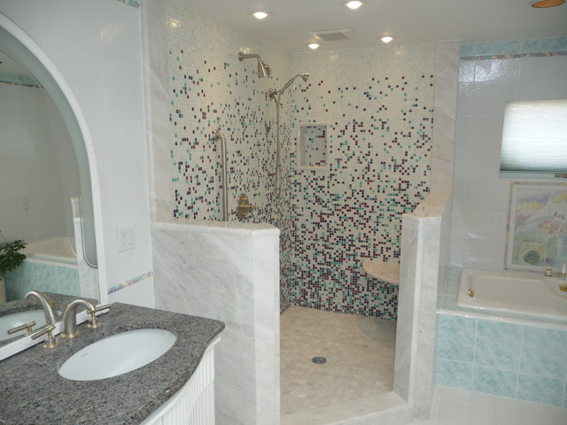 Glass Tile Shower eclectic bathroom