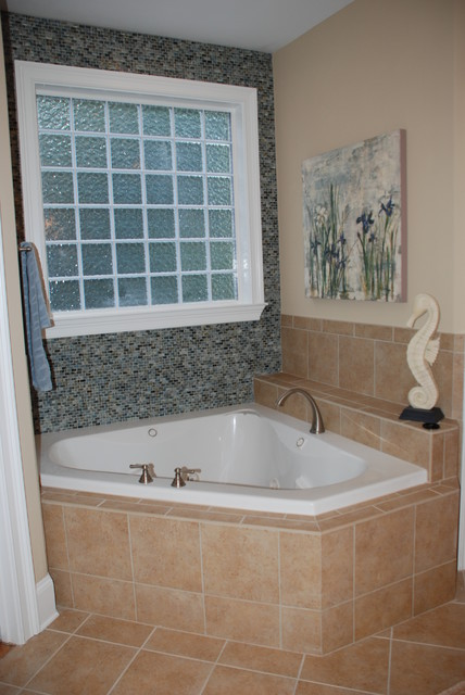 Glass tile to accent garden tub bathroom other by for Home and garden bathrooms