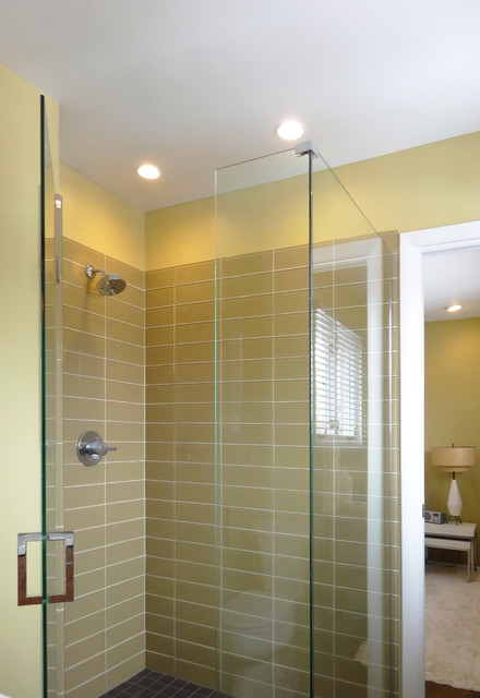 Glass Walk In Shower In Olive Green Midcentury