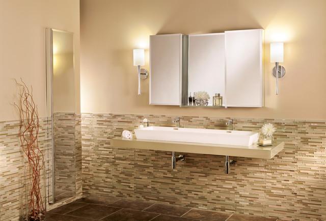 GlassCrafters' Center Mirror Glass Shelf with Frameless Beveled Medicine Cabinet - Transitional ...