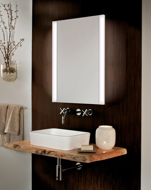 Beau GlassCraftersu0027 Frameless Mirrored Medicine Cabinet With Vertical LED Task  Lights Contemporary Bathroom
