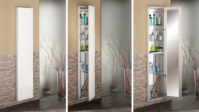 Glasscrafters Full Length Cabinet With Special Order White Glass Color Modern Bathroom New York By Glasscrafters Inc
