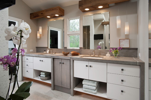 Wood Beams With Recessed Lights - Bathroom pot lights