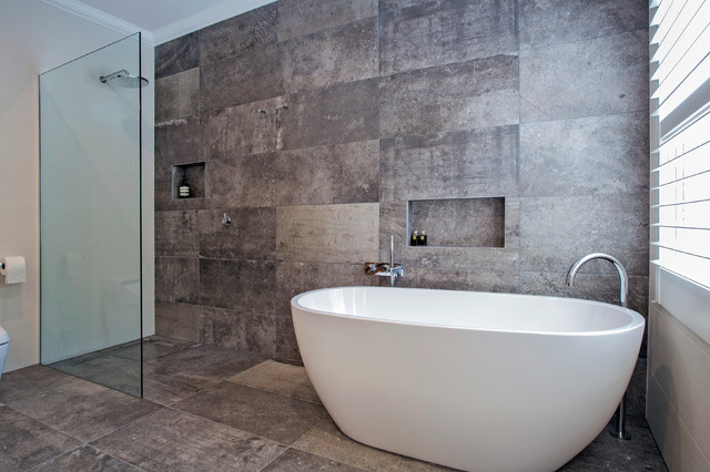 Luxury free standing bath and walk in shower contemporary bathroom melbourne by ultimate for Standing shower bathroom ideas