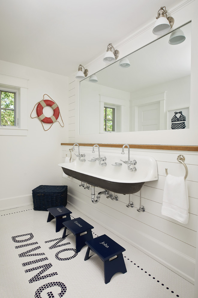Bathroom - mid-sized coastal kids' white tile and subway tile multicolored floor and porcelain tile bathroom idea in Grand Rapids with white walls and a trough sink
