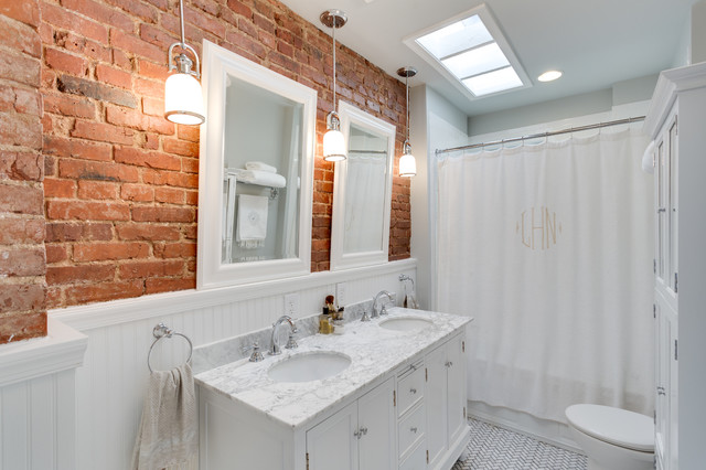 Example of a classic white tile bathroom design in DC Metro with an undermount sink, recessed-panel cabinets and white cabinets