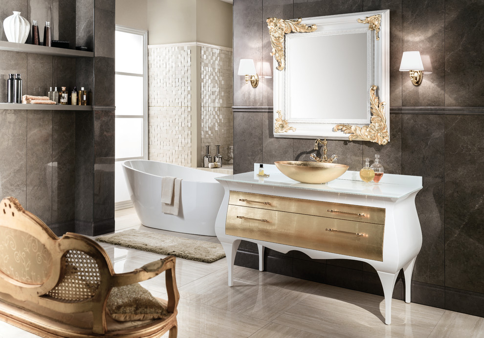 Gm Luxury Rialto 55 5 Master Bathroom Vanity Gold Leaf Cabinet With Vessel Sink Contemporary Bathroom Miami By Agm Home Store Llc