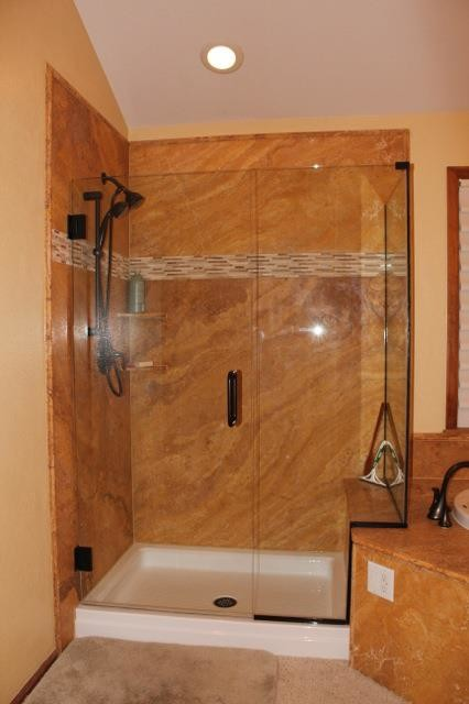 Gold Travertine Shower traditional-bathroom