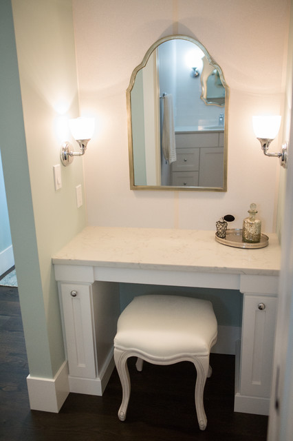 Inspiration for a large transitional white tile and ceramic tile porcelain floor and gray floor double shower remodel in Other with shaker cabinets, white cabinets, white walls, an undermount sink, engineered quartz countertops and a hinged shower door