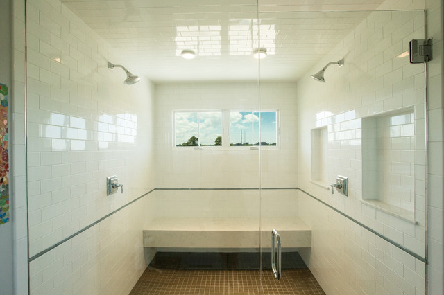 Inspiration for a large transitional master white tile and ceramic tile porcelain floor and gray floor double shower remodel in Other with shaker cabinets, white cabinets, a two-piece toilet, white walls, an undermount sink, engineered quartz countertops and a hinged shower door