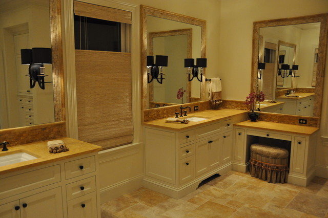 Golden Sienna Travertine Project Traditional Bathroom