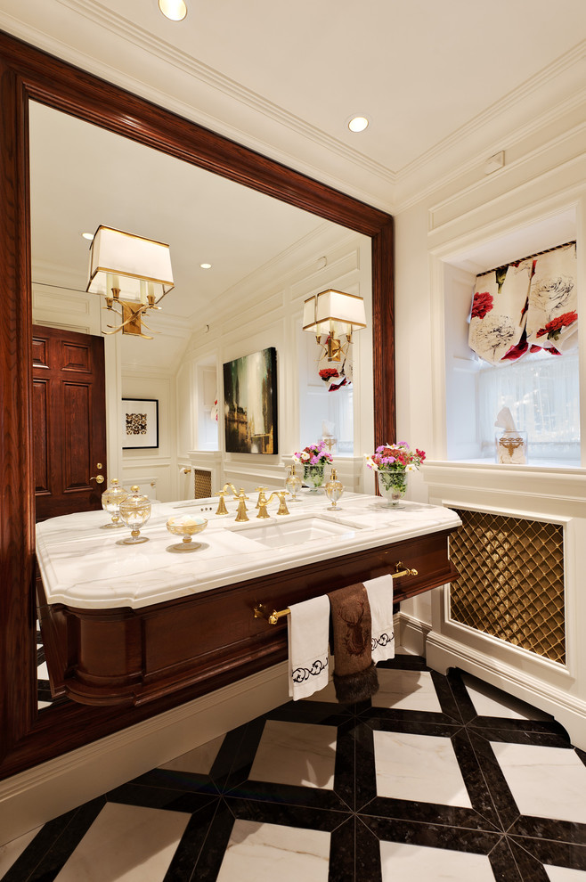 Bathroom - traditional white tile bathroom idea in Montreal with an undermount sink and dark wood cabinets