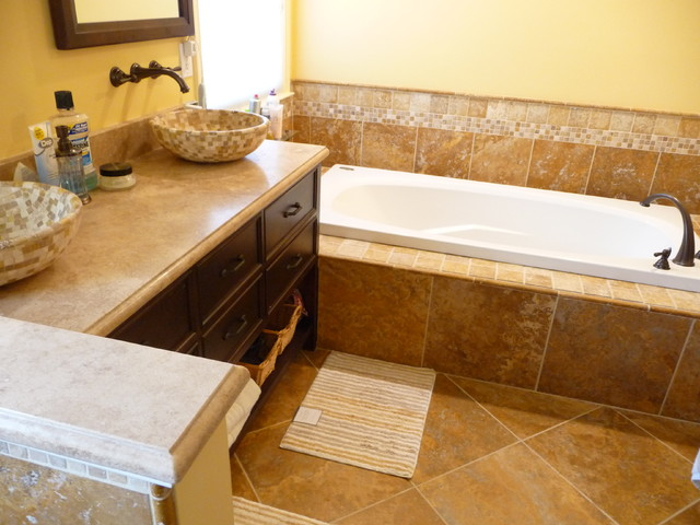 Golden Travertine Bathroom Traditional Bathroom Philadelphia By Stonemar Natural Stone