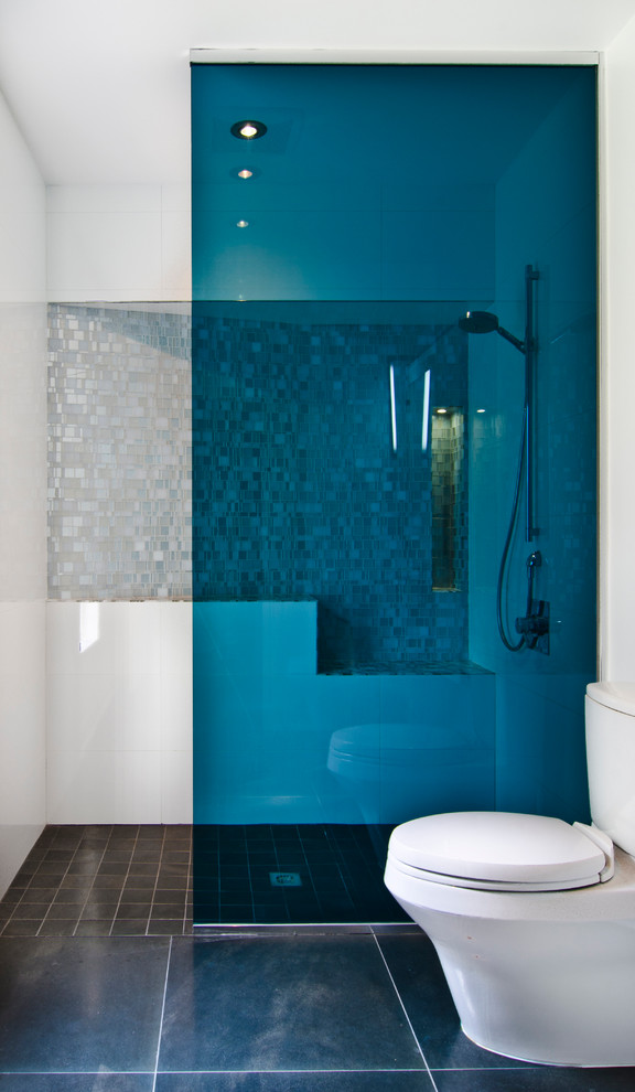 Inspiration for a contemporary 3/4 white tile and mosaic tile slate floor walk-in shower remodel in DC Metro with a two-piece toilet and white walls
