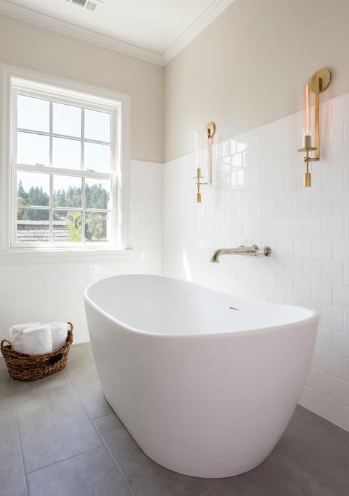 Soaking tub in master bathroom renovation in Portland OR