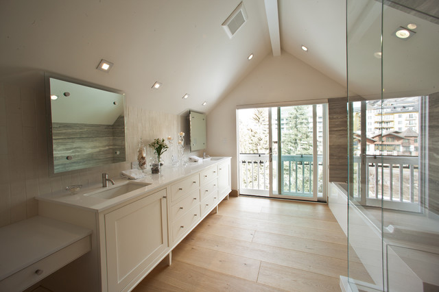 Large trendy master multicolored tile and stone slab light wood floor bathroom photo in Denver with white cabinets, white walls, an undermount sink, shaker cabinets and marble countertops