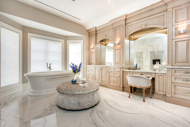 Inspiration For A Huge Timeless Master Freestanding Bathtub Remodel In  Toronto With Raised Panel Cabinets
