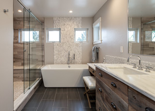Gorgeous Custom Bathroom With Extra Large Shower Rustic