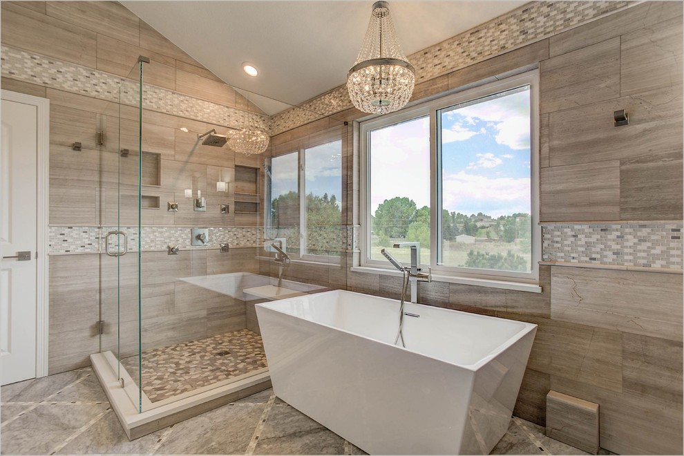 Large trendy master brown tile, beige tile and porcelain tile ceramic tile and brown floor bathroom photo in Denver with a hinged shower door, shaker cabinets, white cabinets, beige walls and an undermount sink