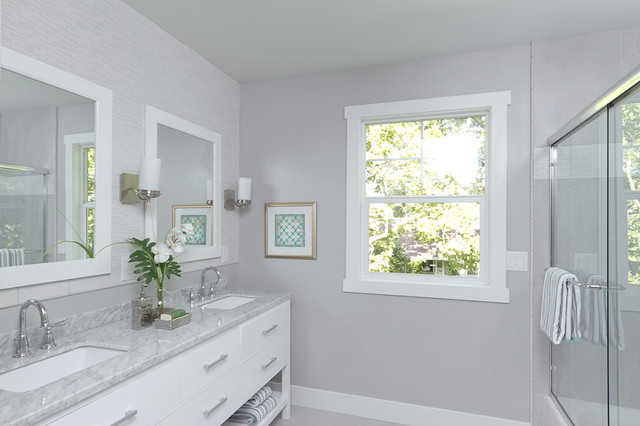 Gorgeous in gray transitional bathroom sacramento Best light gray paint color