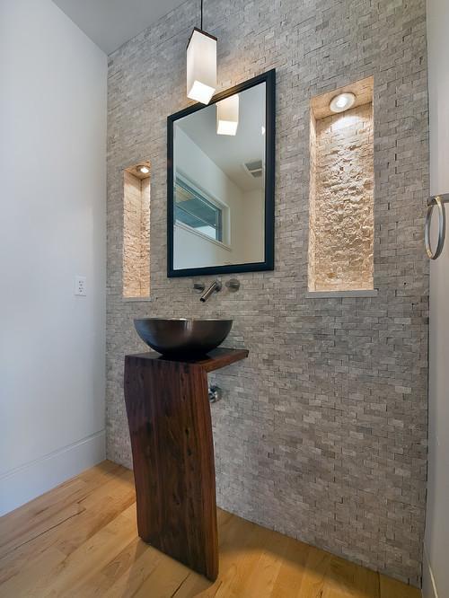 διακόσμηση με πέτρες, επένδυση με πέτρες, τεχνητές πέτρες, ξύλο στο μπάνιο, παρκέ στο μπάνιο