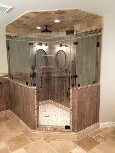 Bathroom   Transitional Master Multicolored Tile And Stone Tile Medium Tone  Wood Floor Bathroom Idea In