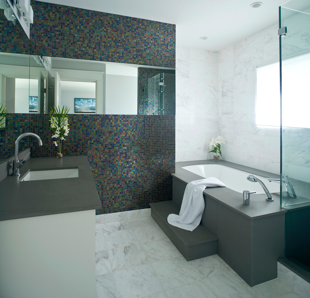 Design ideas for a contemporary bathroom in Vancouver with an undermount sink.