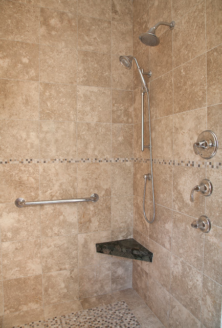 Grab Bars Handheld And Wall Mounted Showerhead Provide Universal Options In Thi Traditional