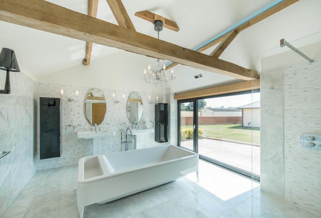 Grade ii listed barn conversion contemporary bathroom for Barn conversion bathroom ideas