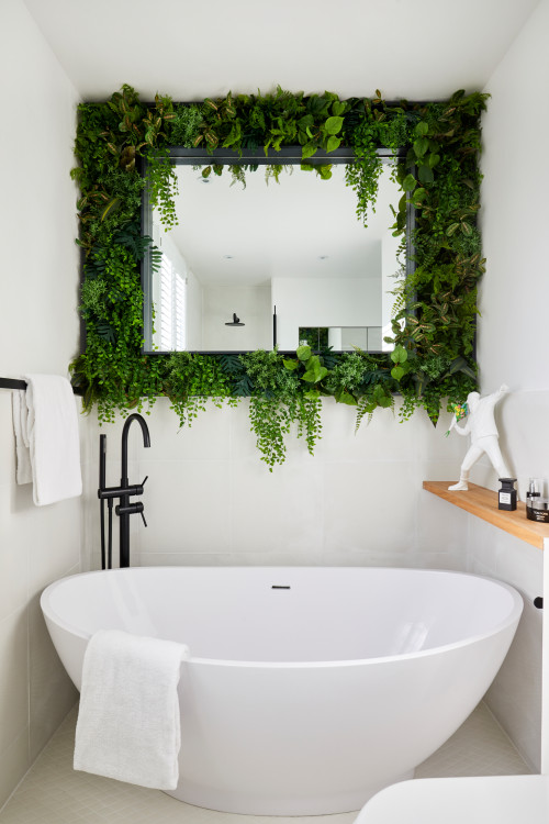 vertical garden around bathroom mirror