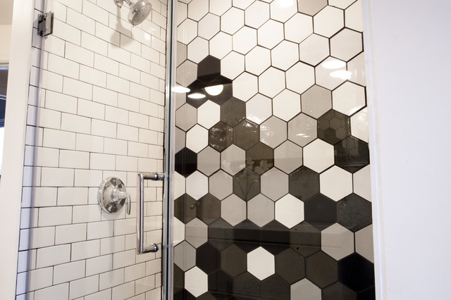 Gradient For Bathroom Floor : Gradient black white honeycomb shower modern